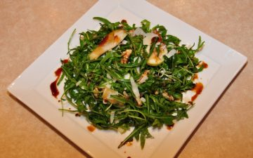 Rocket, Pear, Paremesan and Walnut salad with Vino Cotto dressing
