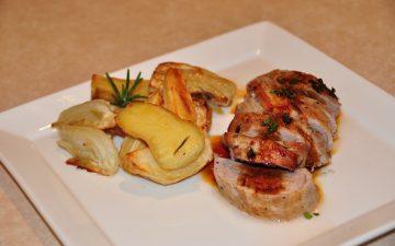 Vino Cotto marinated roast pork fillet with roasted seasonal vegies