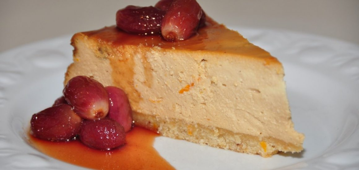 Ricotta cheesecake with Vino Cotto soaked Sultana and grape syrup