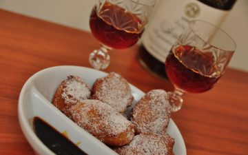 Orange Ricotta Fritters with Vino Cotto