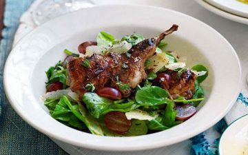 VinoCotto grilled quail and grape salad