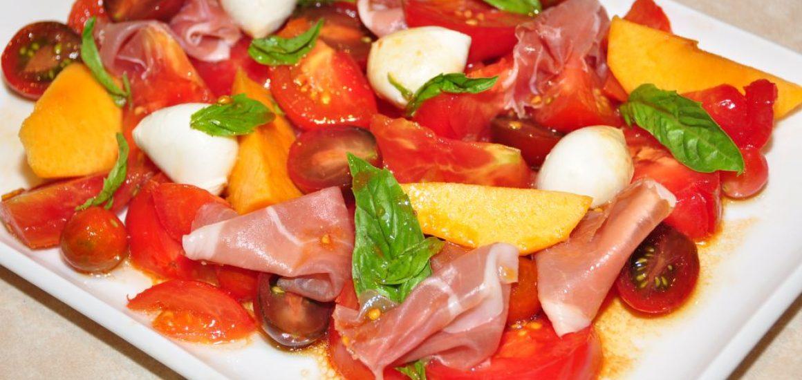 Tomato, prosciutto and peach salad with Vino Cotto dressing