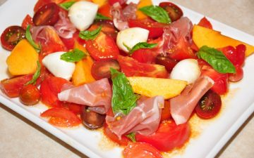 Tomato, prosciutto and peach salad with Vino Cotto dressing