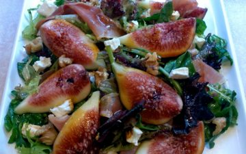 Fig, Proscuitto and Goats curd with Vino Cotto salad