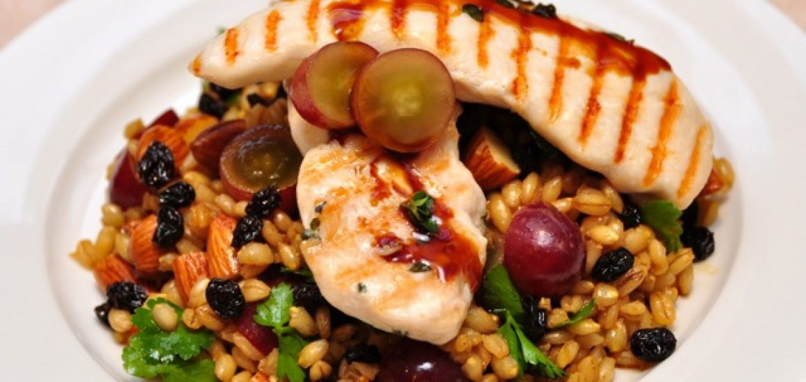 Char-grill Chicken and Barley Salad with VinCotto Rasins, Grapes and Almonds