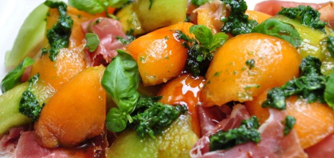 Melon & Prosciutto salad with VinCotto & Basil dressing