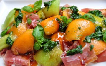 Melon & Prosciutto salad with VinCotto & Basil dressing