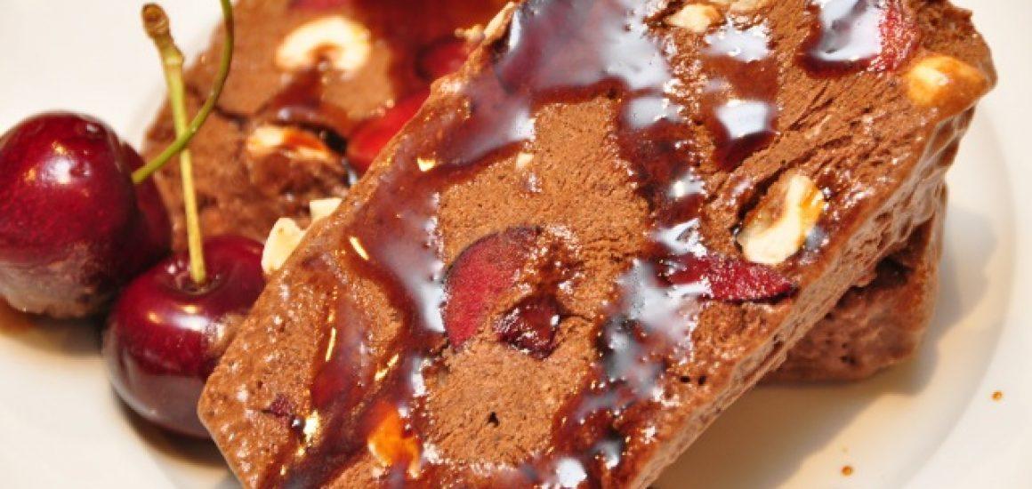 Chocolate, Chery, Hazelnut semifreddo with VinoCotto