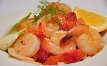 Fennel, Blood Orange and Prawn salad with Vincotto